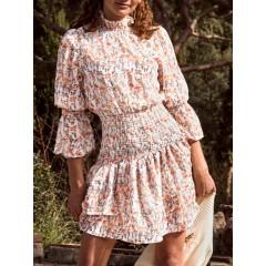 Floral Smocked Layered Hem Poet Sleeve Dress