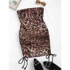 Leopard Cinched Mini Tube Dress