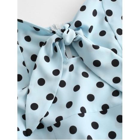 Polka Dot Knotted Slit Cami Summer Dress