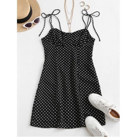 Tie Shoulder Polka Dot Mini Dress