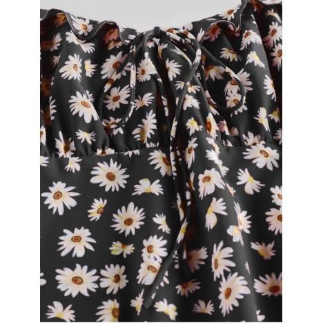 ZAFUL Daisy Print Tie Shoulder Ruffle Mini Dress