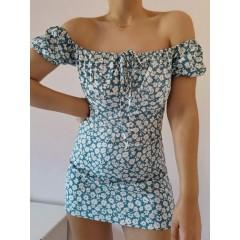 ZAFUL Ditsy Floral Off Shoulder Tie Dress