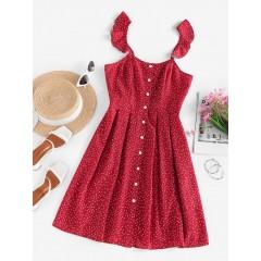 ZAFUL Ditsy Polka Dot Ruffle Button Front Dress
