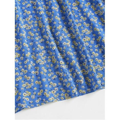 ZAFUL Floral Tie Strap Apron Mini Sundress