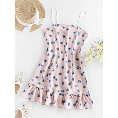 ZAFUL Flounce Floral Print Cami Dress