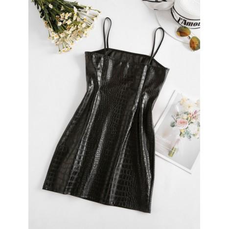 ZAFUL Front Slit Faux Leather Mini Dress
