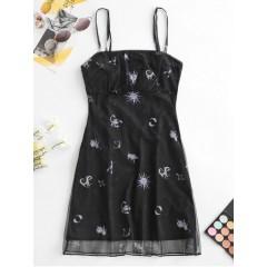 ZAFUL Funny Sun Print Ruched Mesh Cami Dress