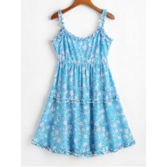 ZAFUL Lettuce Trim Tie Back Floral Mini Dress