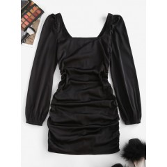 ZAFUL Ruched Square Neck Puff Sleeve Bodycon Dress