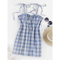 ZAFUL Self Tie Plaid Front Slit Mini Dress