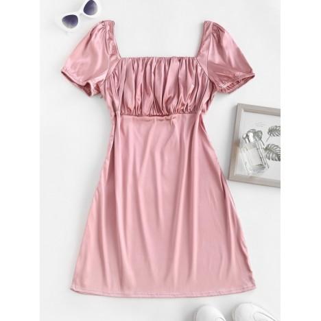 ZAFUL Square Collar Silky Satin Ruched Milkmaid Dress
