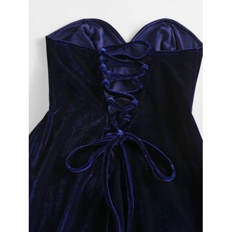 ZAFUL Velour Lace Up Strapless Dress