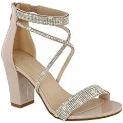 Cambridge Select Women's Open Toe Crisscross Strappy Crystal Rhinestone Chunky Block Heel Sandal