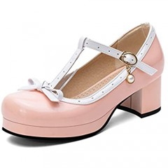 100FIXEO Women Sweet Patent Leather Chunky Heel Lolita Shoes Buckle Strap Bow Cosplay Platform Mary Jane T Strap Round Toe Comfort Dress Pumps