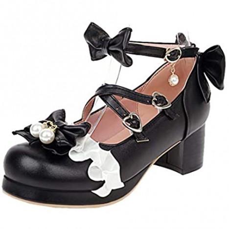 Alsoloveu Women Lolita Platform Shoes Ankle Strap Mary Jane Chunky Heel Rockabilly Shoes