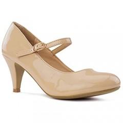 RF ROOM OF FASHION Women's Mary Jane Chunky Mid Heel Dress Pumps