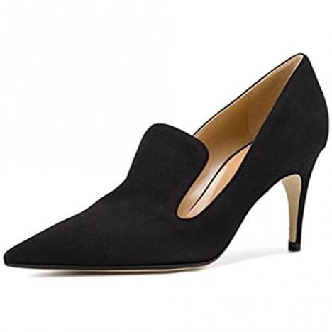 YDN Women's Low Heels Slip on Loafer Stilettos Pumps Pointy Toe Slide Suede Prom Shoes