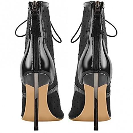 Yolkomo Women's Fishnet Ankle Boots Pumps High Heels Sandals Sock Booties