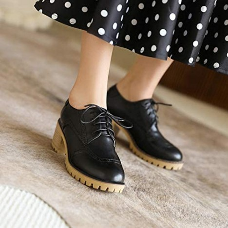 Alsoloveu Women Lace Up Oxford Shoes Chunky Mid Heel Wingtip Shoes Round Toe