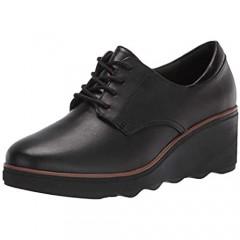 Clarks Women's Mazy Hyannis Oxford Black Leather 12