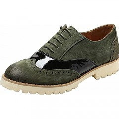 Ulite Womens Classic Perforated Suede Leather Lace-up Low Heel Oxfords Comfortable Casual Walking Oxfords