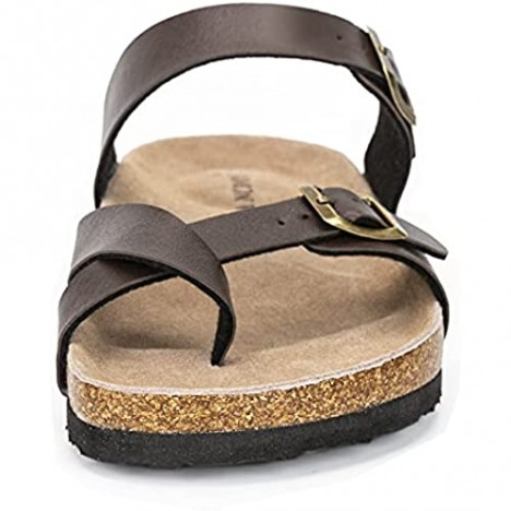 LANCDON Leather Arizona Cork Footbed Open Toe Sandals for Men with Adjustable Strap Buckle Shoes