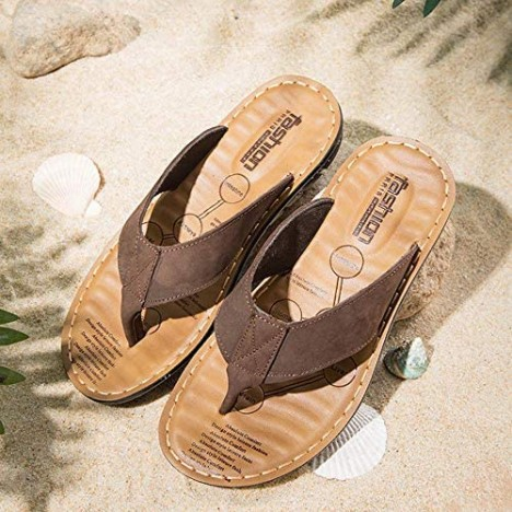 Mens Womens Flip Flops Leather Thong Sandals Comfort Slippers for Casual Summer Outdoors Non-Slip with Arch Support