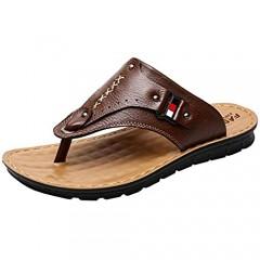 V VOCNI Men's Flip Flops Open Toe Casual Comfortable Leather Sandals Summer Outdoor Beach Slippers