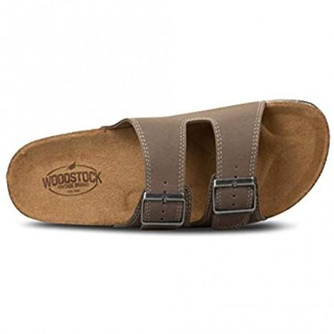 Woodstock Beau Adjustable Engineered Leather Slides for Men Slide Comfort Cork Sandals