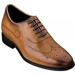 CALTO Men's Invisible Height Increasing Elevator Shoes - Premium Leather Lace-up Brogue Medallion Wing-tip Seamless Cut Formal Oxfords - 2.8 Inches Taller