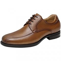 Kararao Dress Shoes for Men Casual Business Leather Shoes Mens Classic Oxford Shoes Square Toe Comfortable Lightweight Breathable Brown Size 10