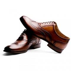 R.PRINCE Men's Oxford Shoes Genuine Leather Dress Shoes Cap Toe Lace Up