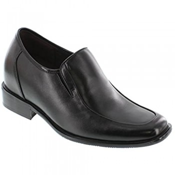 Calden Men's Invisible Height Increasing Elevator Shoes - Black Leather Slip-on Lightweight Loafers - 3.2 Inches Taller - K5652