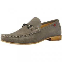MARC JOSEPH NEW YORK Mens Gold Collection Leather Sole Buckle Loafer Grey Suede 10.5 M US