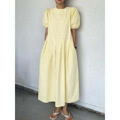 Casual plain round neck puff sleeve side zipper solid stitching maxi dress with pocket Sal