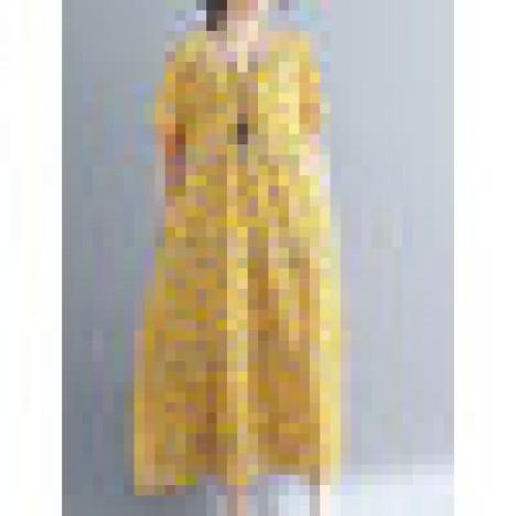 Casual women floral printed short sleeve v-neck dress Sal