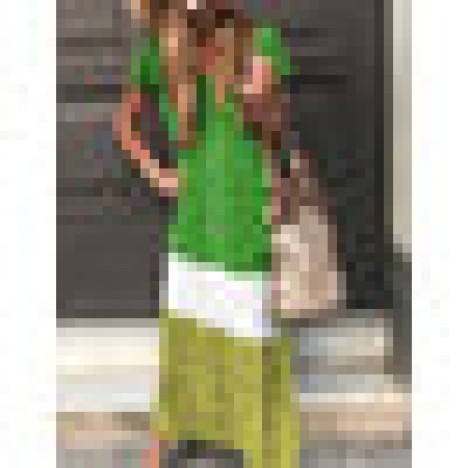 Contrast color short sleeve casual maxi dress for women Sal