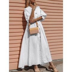Daily casual women solid color ruffle sleeve button holiday maxi dress Sal