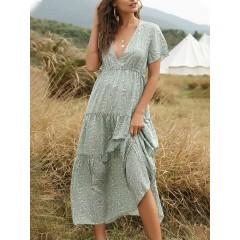 Floral print v-neck elastic waist short sleeve holiday casual maxi dress Sal
