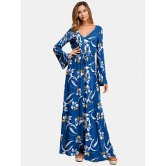 Floral v neck waist tie long sleeves maxi print dress for women Sal
