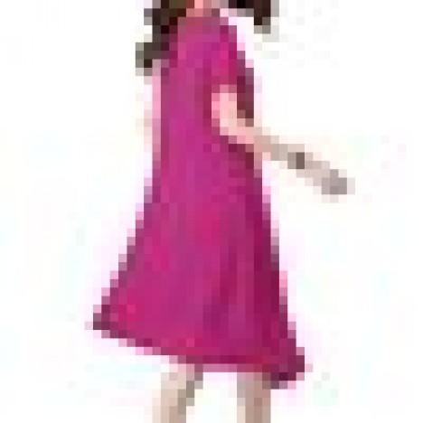 Folk style women solid button frog cotton linen dress Sal