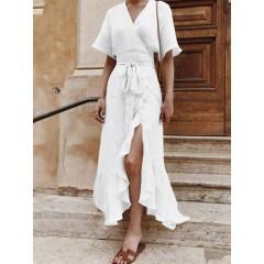 Half sleeve v-neck high low hem solid wrap split ruffle casual maxi dress Sal
