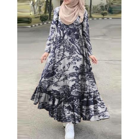 Long sleeve floral print button down ruffles hem retro style maxi shirt dress Sal