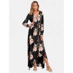 Long sleeve v-neck floral print belted maxi dress Sal