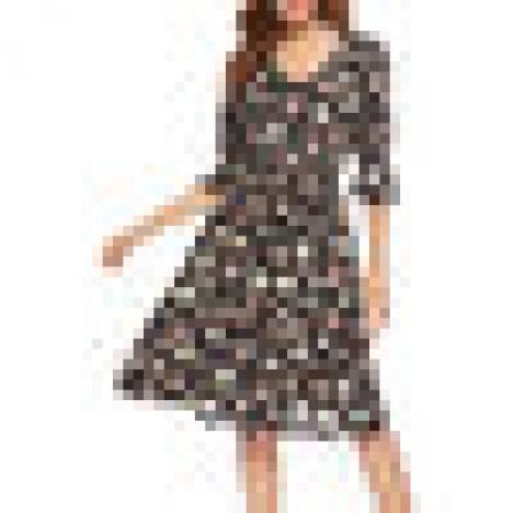 Long sleeved v-neck floral print chiffon mini dress Sal