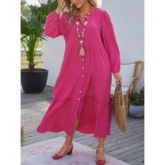 Mens texture long sleeve elegant maxi dress with side pocket Sal