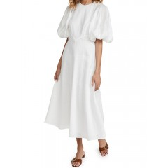 Pure color round neck half puff sleeve casual maxi dresses for women Sal