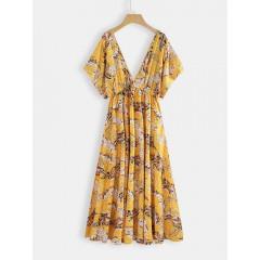 Short sleeve v-neck loose causal high waist floral midi dress Sal