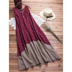 Sleeveless print patchwork vintage dress Sal