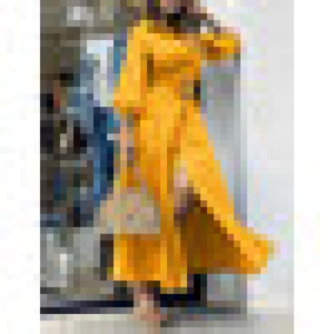 Solid color lapel puff sleeves button belted maxi shirt dress Sal
